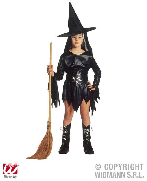 Girls Evil Witch Costume Halloween Fancy Dress