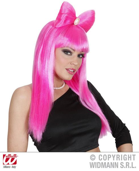 Glam Rock Wig with Bow Fancy Dress