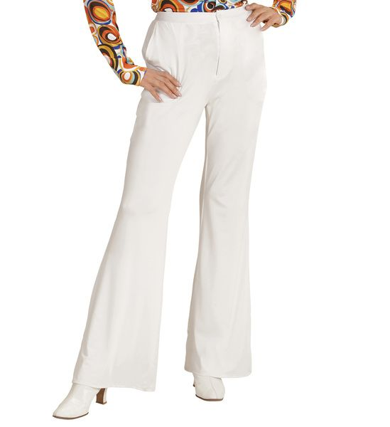 Groovy 70s Lady Pants - White Trouser Pants 70s Fancy Dress