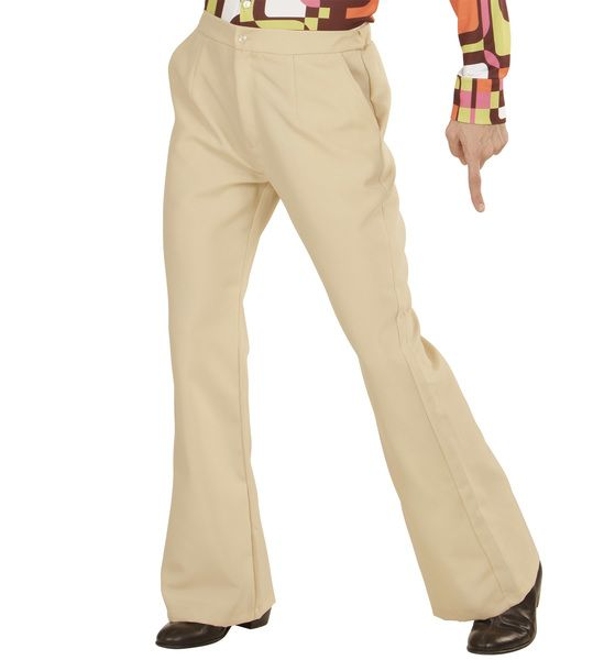 Groovy 70s Man Pants - Beige Trouser Pants 70s Fancy Dress