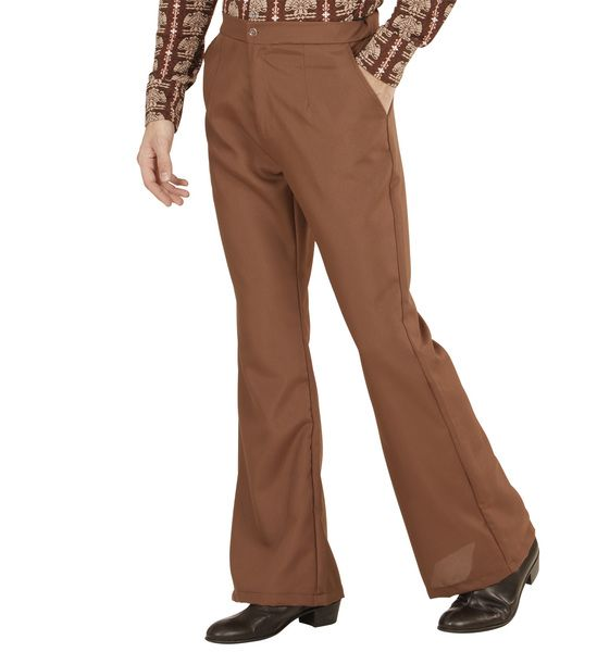 Groovy 70s Man Pants - Brown Trouser Pants 70s Fancy Dress