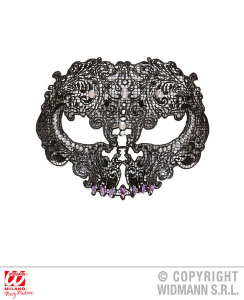 Lace Skull Mask Decorated With Strass & Gems Eyemask Halloween Fancy Dress