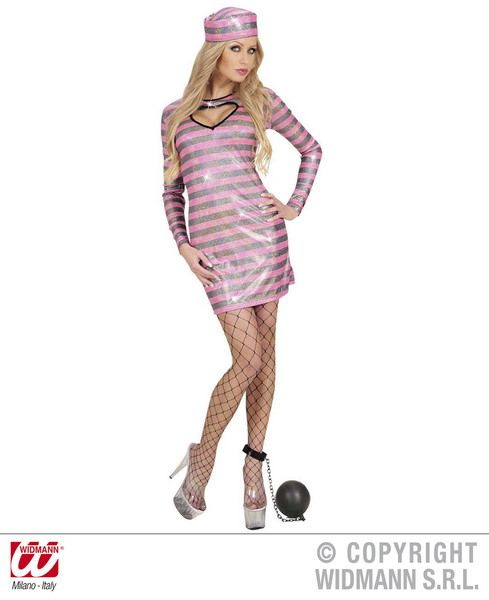 Ladies Black/Pink Holographic Jailbird Costume Police Fancy Dress