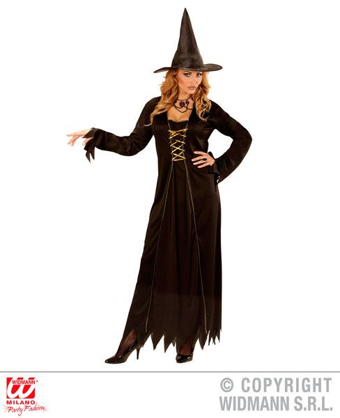 Ladies Black Witch Costume Halloween Fancy Dress