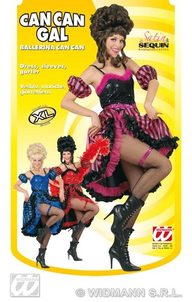 Ladies Can Can Gal - 3 Colours Costume 20s 30s Fancy Dress