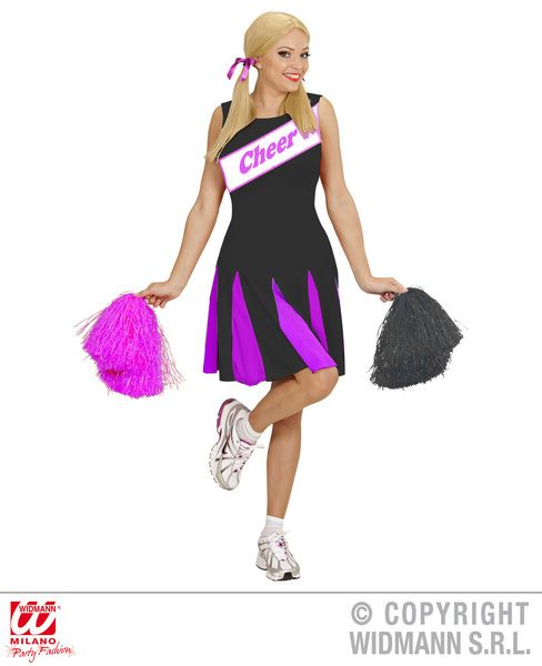 Ladies Cheerleader - Black/Pink Costume Sport Fancy Dress
