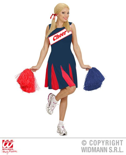 Ladies Cheerleader - Blue/Red Costume Sport Fancy Dress