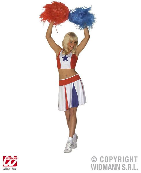Ladies Cheerleader - White/Red/Blue Costume Sport Fancy Dress