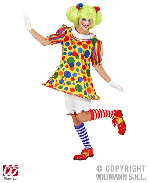 Ladies Clown Girl Costume Circus Fancy Dress