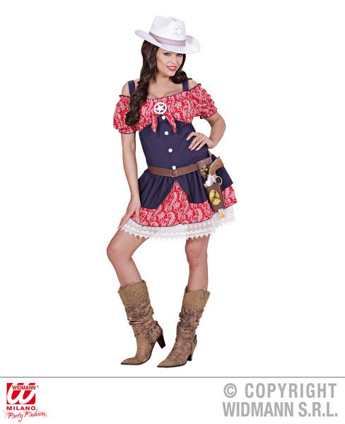 Ladies Cowgirl Dress Costume Cowboy Wild West Fancy Dress