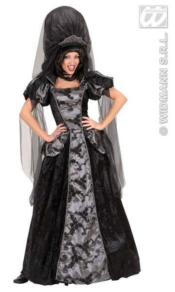Ladies Dark Queen Costume Halloween Fancy Dress