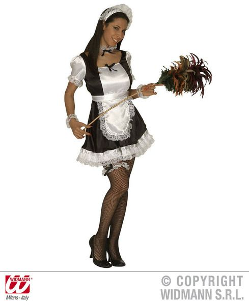 Ladies French Maid Dominique Dress Apron Hat Jewellery Garter Costume
