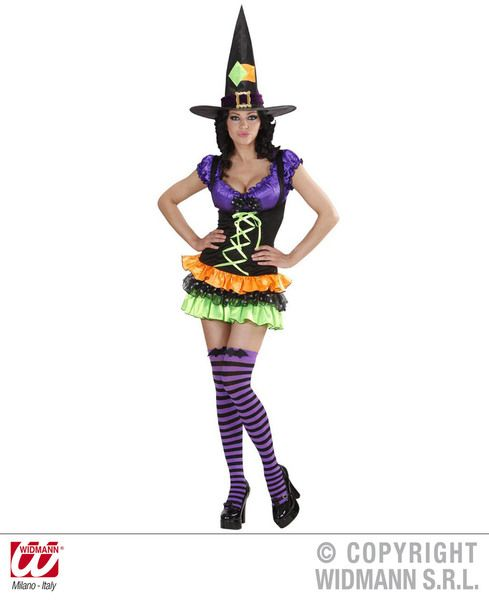 Ladies Glam Witch Costume Halloween Fancy Dress