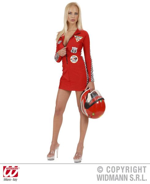 Ladies Grand Prix Babe Costume Red Sport Fancy Dress