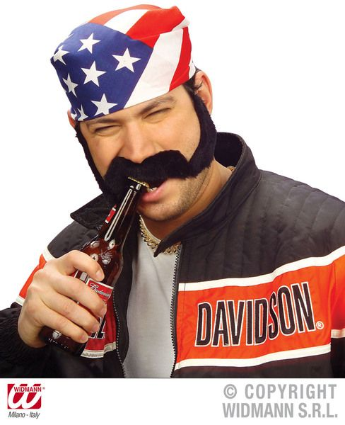 Adhesive Sideburns & Moustache Fancy Dress Accessory Biker Chopper Chops