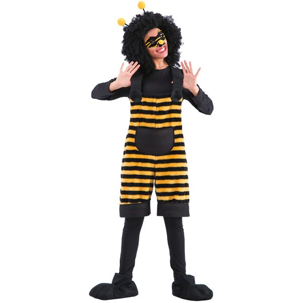 Adult Bee Tunic Costume with Mask & Headband Flying Bug Honey Fancy Dress