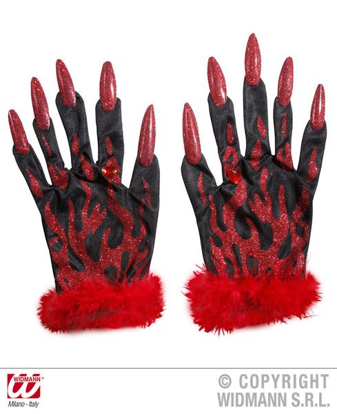 Adult Devil Gloves W/ Red Glitter Nails Halloween Satan Lucifer Fancy Dress