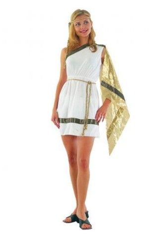 Adult Ladies Ancient Woman Costume for Roman Greek Goddess Fancy Dress APPROX UK 8-12 ONE-SIZE