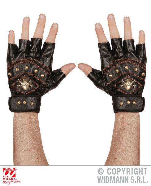 Adult Leatherlook Studded F/Less Skull & Crossbones Gloves Pirate Halloween
