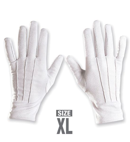 Adult Magician Short White Gloves Xl Size Magic Witch Wizard Halloween Potter
