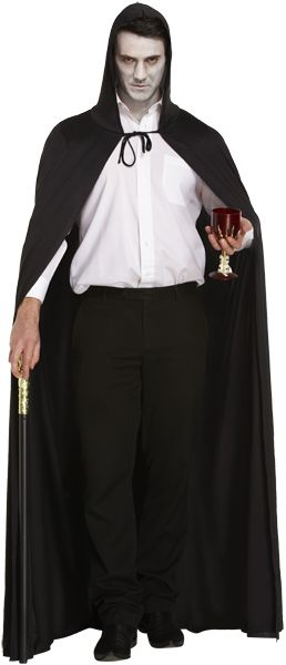Adult Mens Ladies Deluxe Long Black Cape with Hood for Halloween