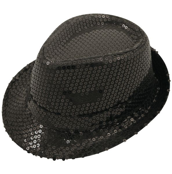 Adult Sequin Trilby Hat for Gangster 1920s 30s Festival Fancy Dress Accessory