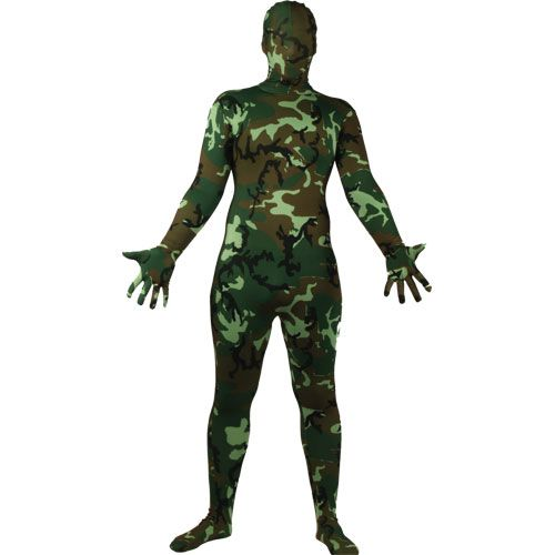 Adult Skinz Camoflage Costume for Body Skin Suit Fancy Dress Mens Ladies