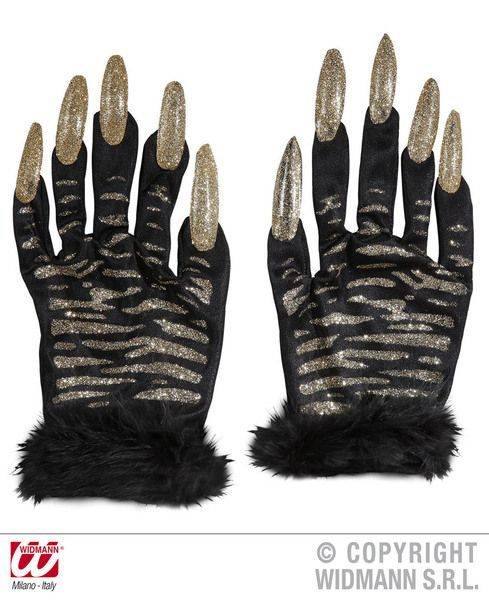 Adult Tiger Gloves W/ Gold Glitter Nails Twd Ezekiel Jungle Cat Fancy Dress