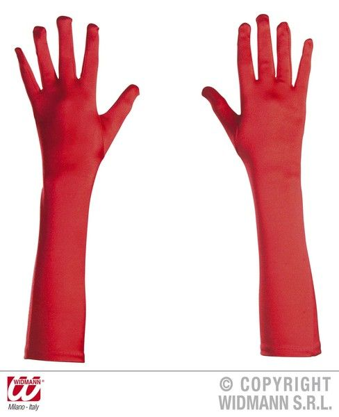 Adult Unisex 50s Gloves Satin 43cm Red Rockabilly Rock N Roll 50s Fancy Dress