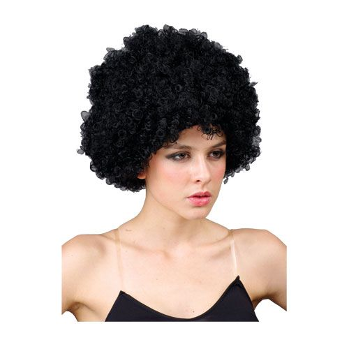 Adult Unisex Black Afro Wig Outfit Accessory for Fancy Dress Mens Ladies