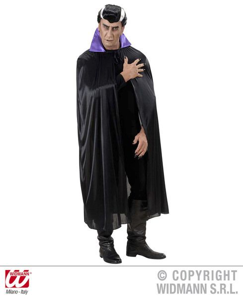 Adult Unisex Black Cape W/Purple Collar Villian Super Hero Superhero Fancy Dress