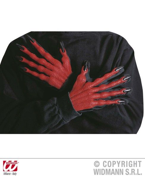 Adult Unisex Devil Gloves 3D Halloween Satan Lucifer Fancy Dress
