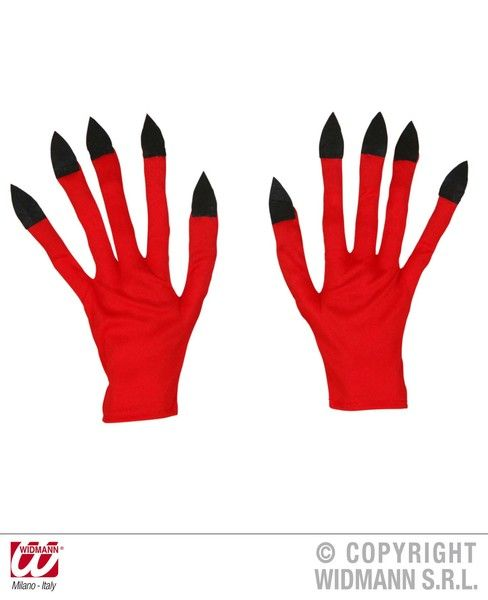 Adult Unisex Devil Gloves Halloween Satan Lucifer Fancy Dress