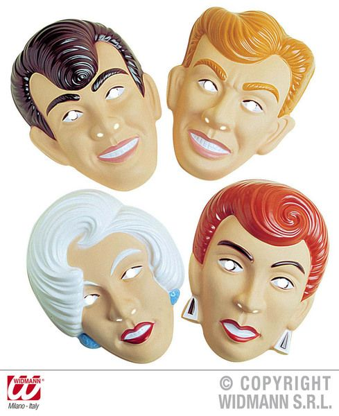 Adult Unisex & Gentlemen Mask Plastic 4 Styles Fancy Dress