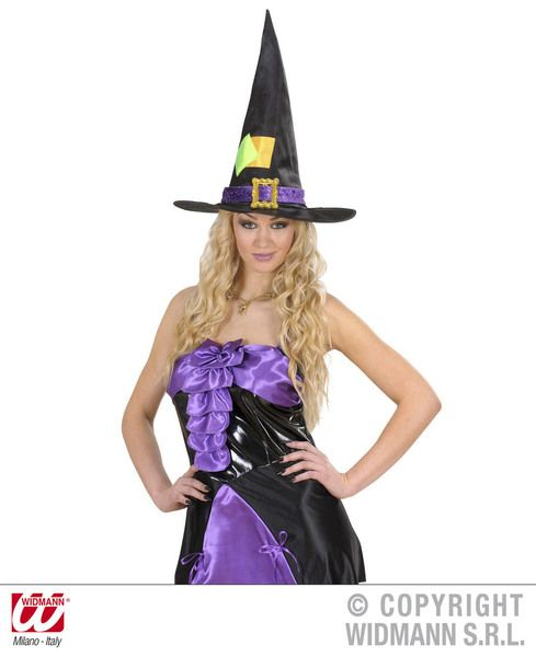 Adult Unisex Satin & Velvet Witch Hat Halloween Wicked Villian Fancy Dress