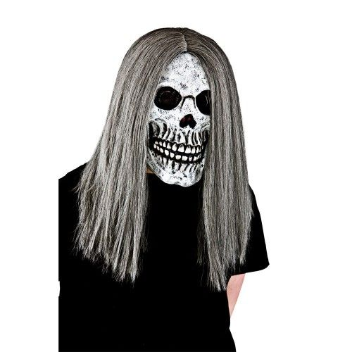 Adult Unisex Skeleton with hair Deluxe Hair Mask for Disguise Fancy Dress