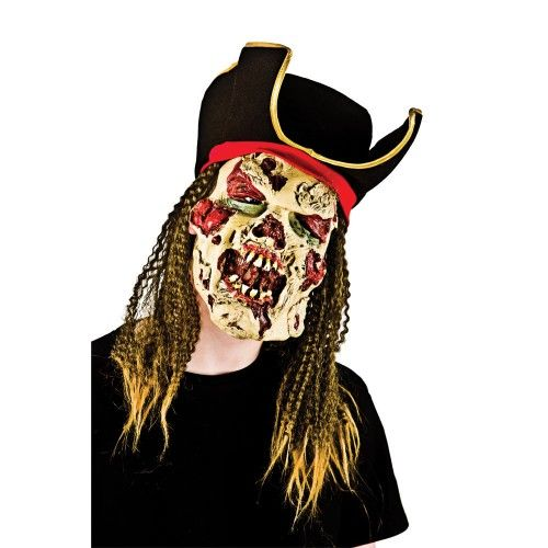 Adult Unisex Zombie Pirate Captain with Hair & Hat for Disguise Fancy Dress