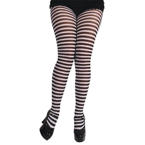 Adults Ladies Candystripe Tights Womens Fancy Dress Lingerie