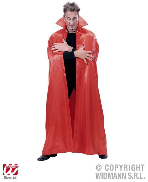 Adults Red Lined Satin Cape 158cm Devil Vampire Halloween Fancy Dress