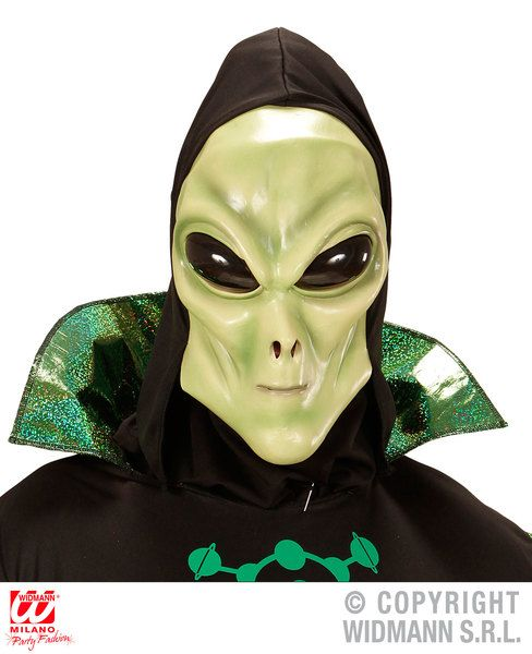 Alien Hooded Mask With Bubble Eyes Space Creature Ufo Sci Fi Fancy Dress