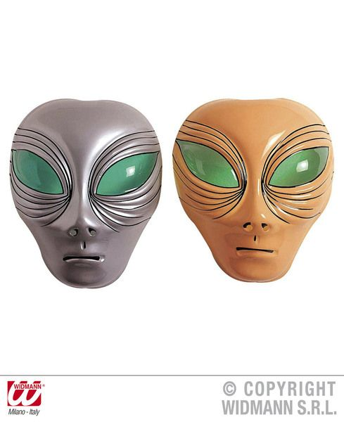 Alien Mask Plastic Silver Or Beige Space Creature Ufo Sci Fi Fancy Dress