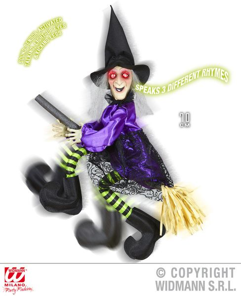 Animated Flying Witch On Broom 70cm Decoration Halloween Wicked Villian Party