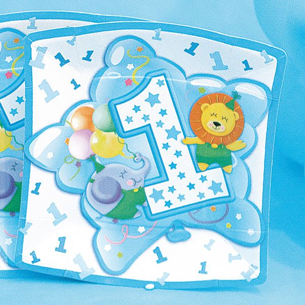 Baby Boy Plates Square Age 1 24cm 10s