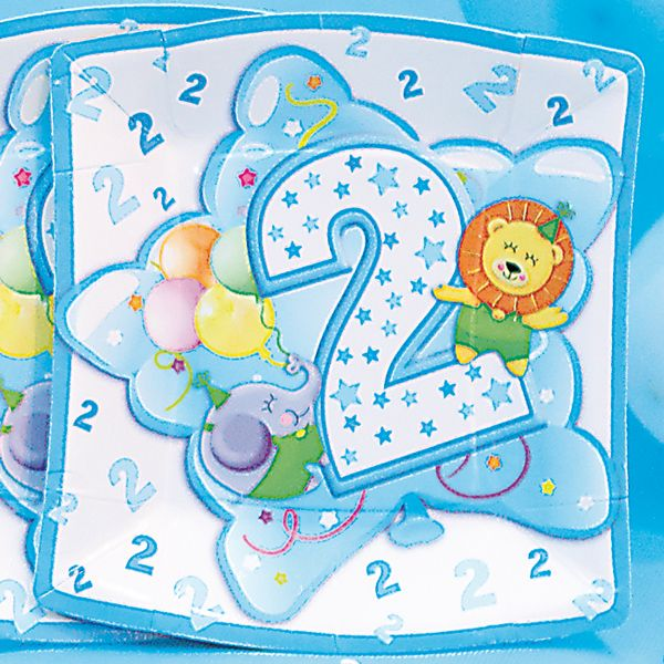 Baby Boy Plates Square Age 2 24cm 10s