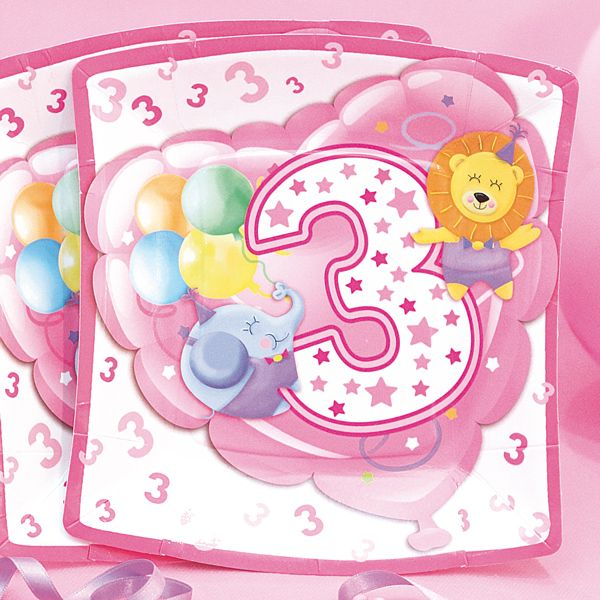 Baby Girl Plates Square Age 3 24cm 10s