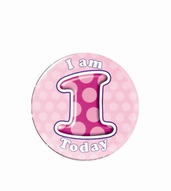 Badge 5cm Happy Birthday Age 1 Girl