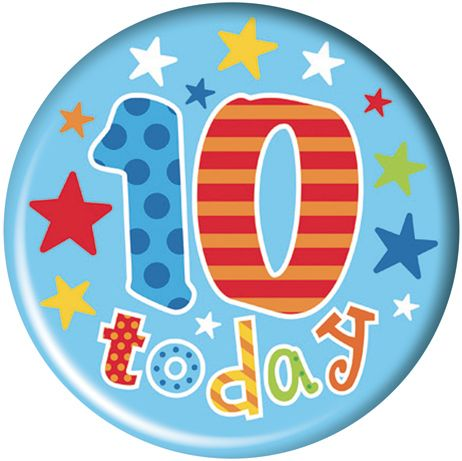 Badge 5cm Happy Birthday Age 10 Boy