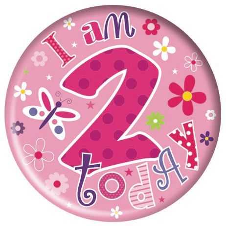 Badge 5cm Happy Birthday Age 2 Girl