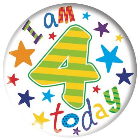 Badge 5cm Happy Birthday Age 4 Boy