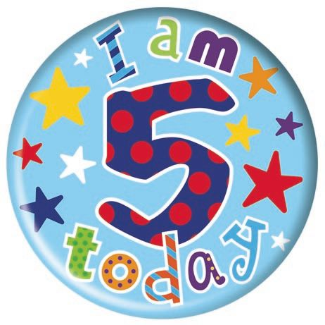 Badge 5cm Happy Birthday Age 5 Boy